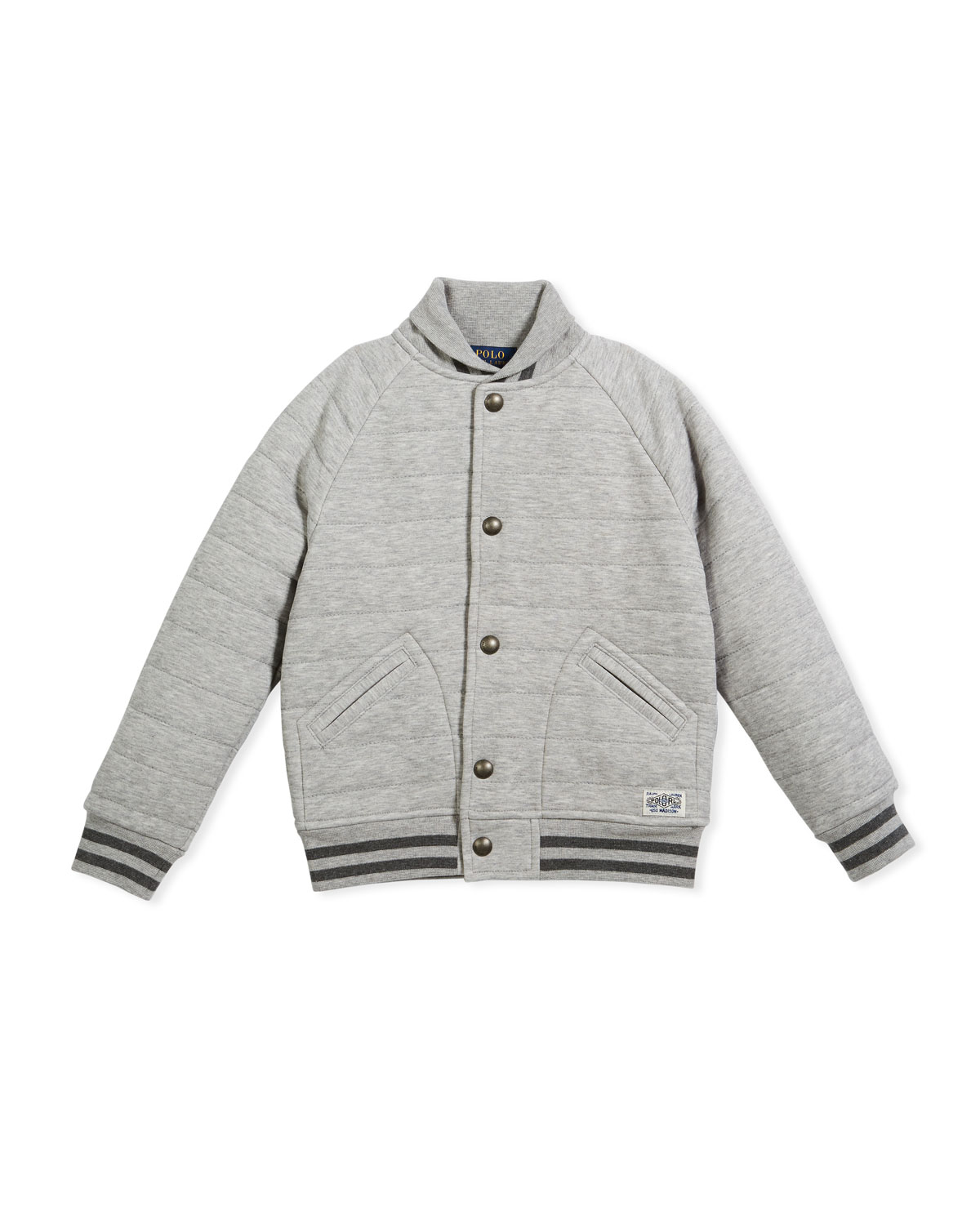 Double Knit Tech Baseball Jacket, Gray, Size 5-7