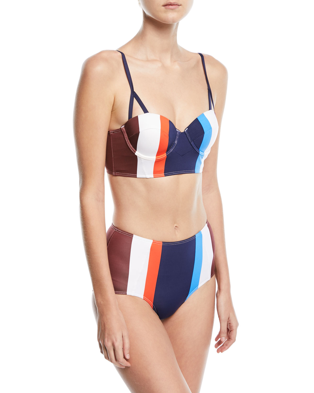 Ava High-Waist Striped Swim Bikini Bottoms