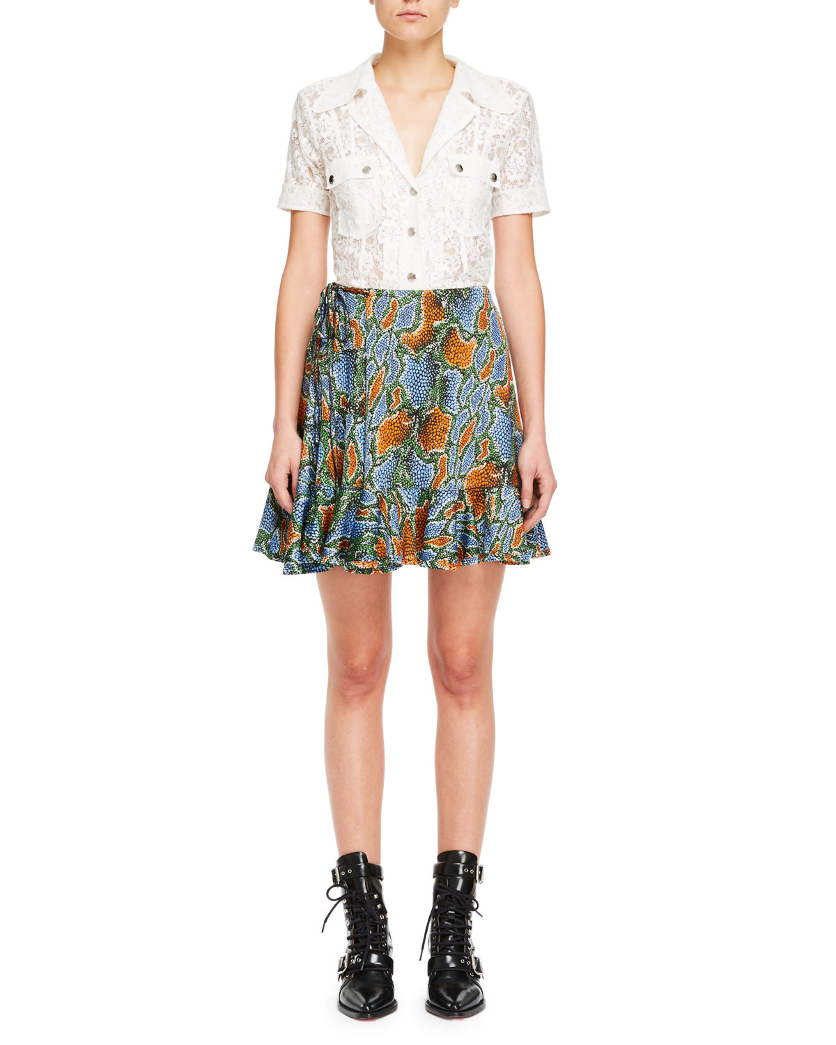 Collared Snap-Front Short-Sleeve Floral-Lace Shirt