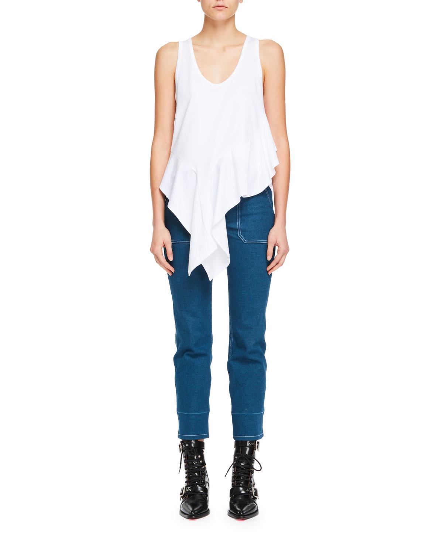Straight-Leg Patch-Pocket Stretch-Denim Ankle Pants