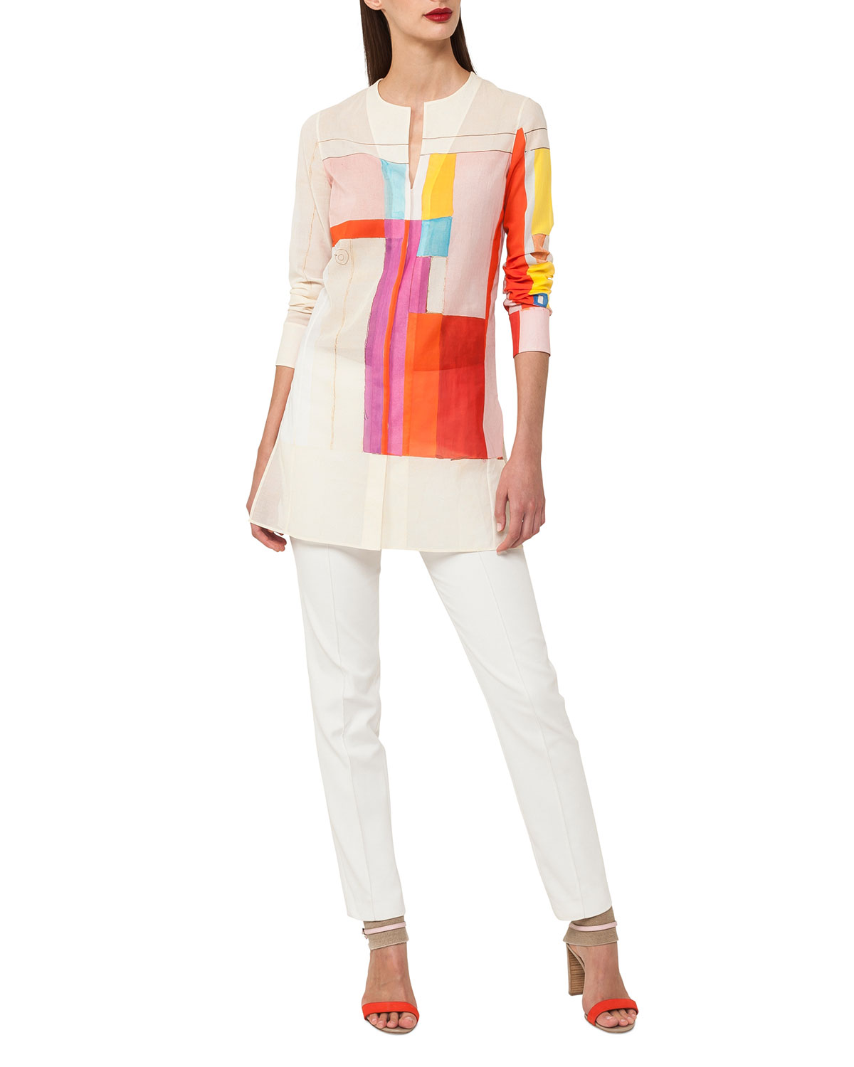 Mural-Print Long-Sleeve Cotton Voile Tunic Blouse