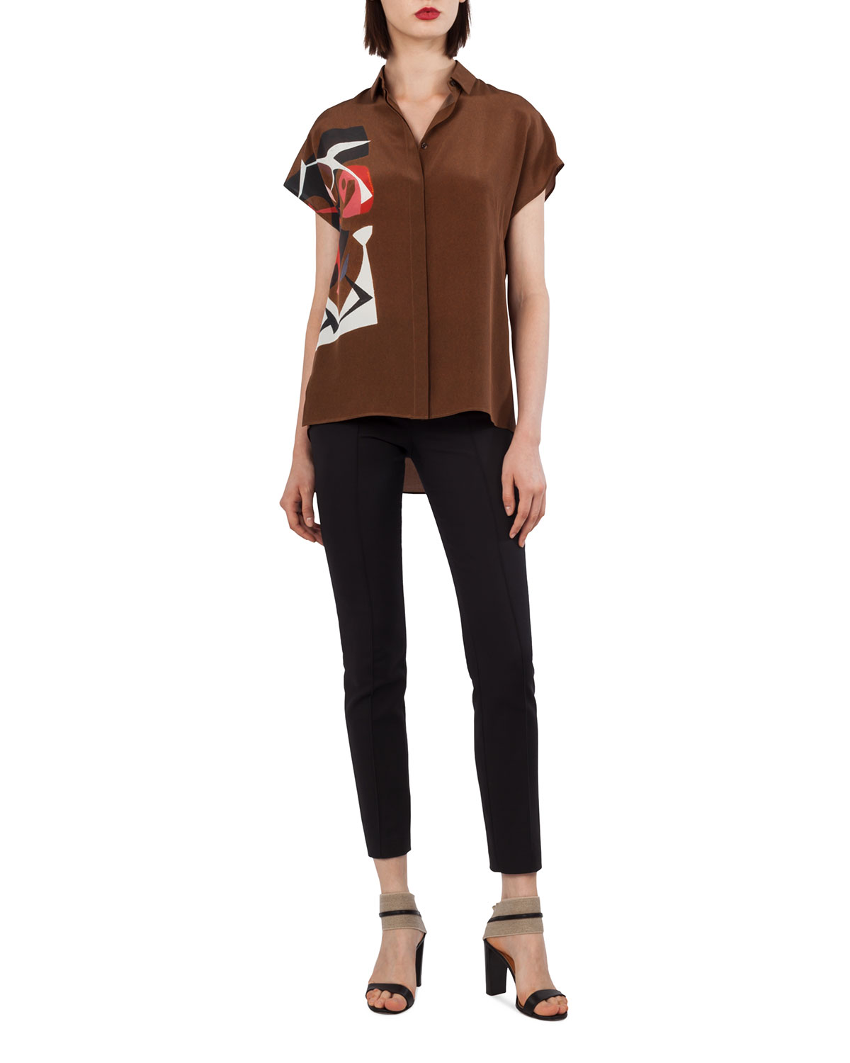 Cap-Sleeve Masonite-Print Collared Silk Crepe Silk Blouse
