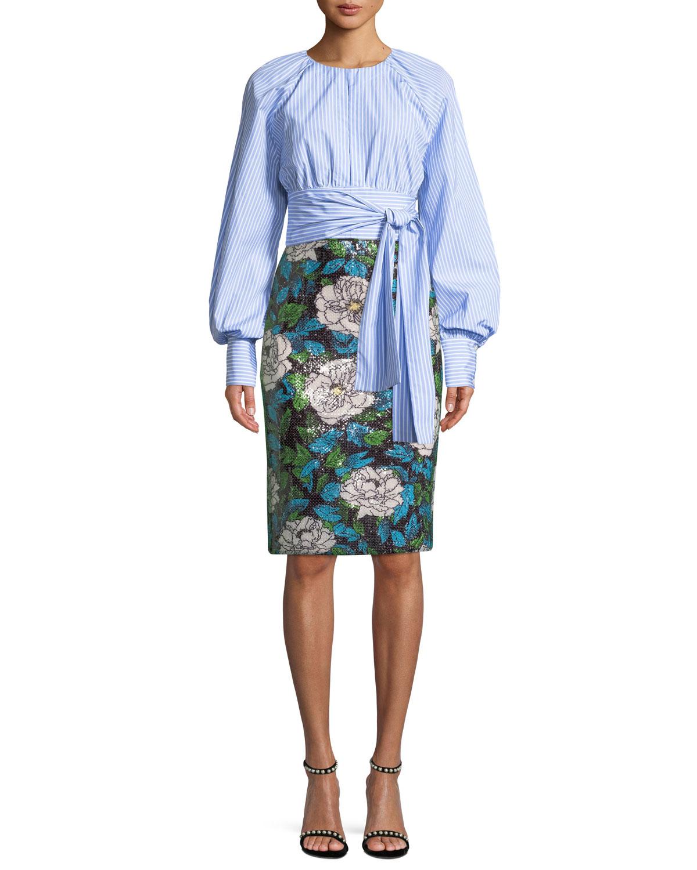 Sequin Floral Pencil Skirt