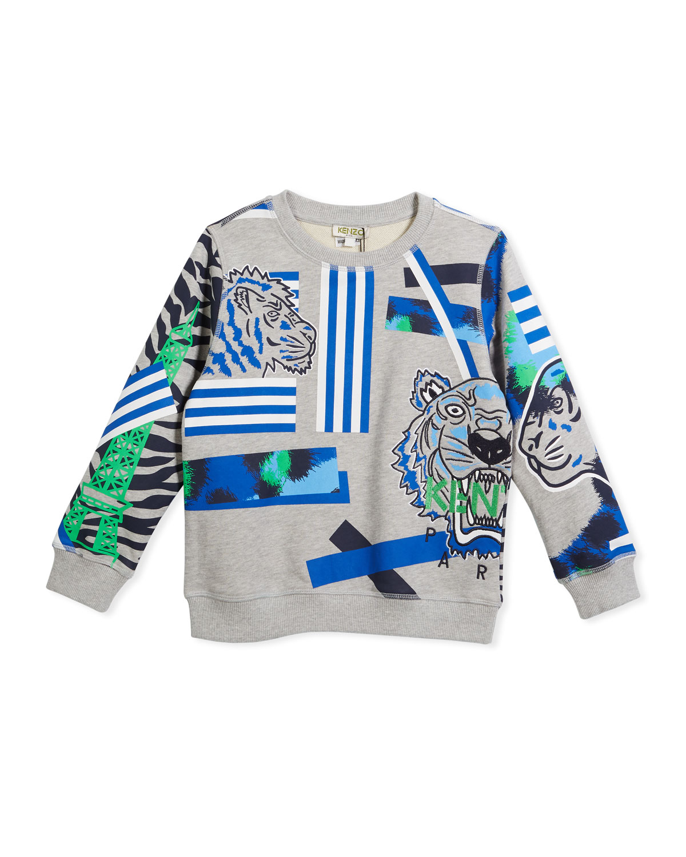 Multi-Icon Tiger Striped Sweatshirt, Gray, Size 8-12