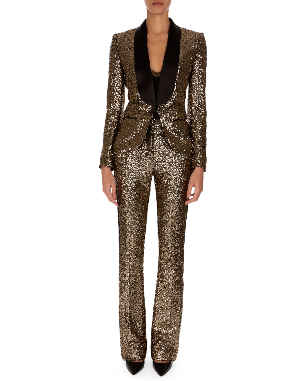 Golden-Paillettes Straight-Leg Pants w/ Tuxedo Stripe