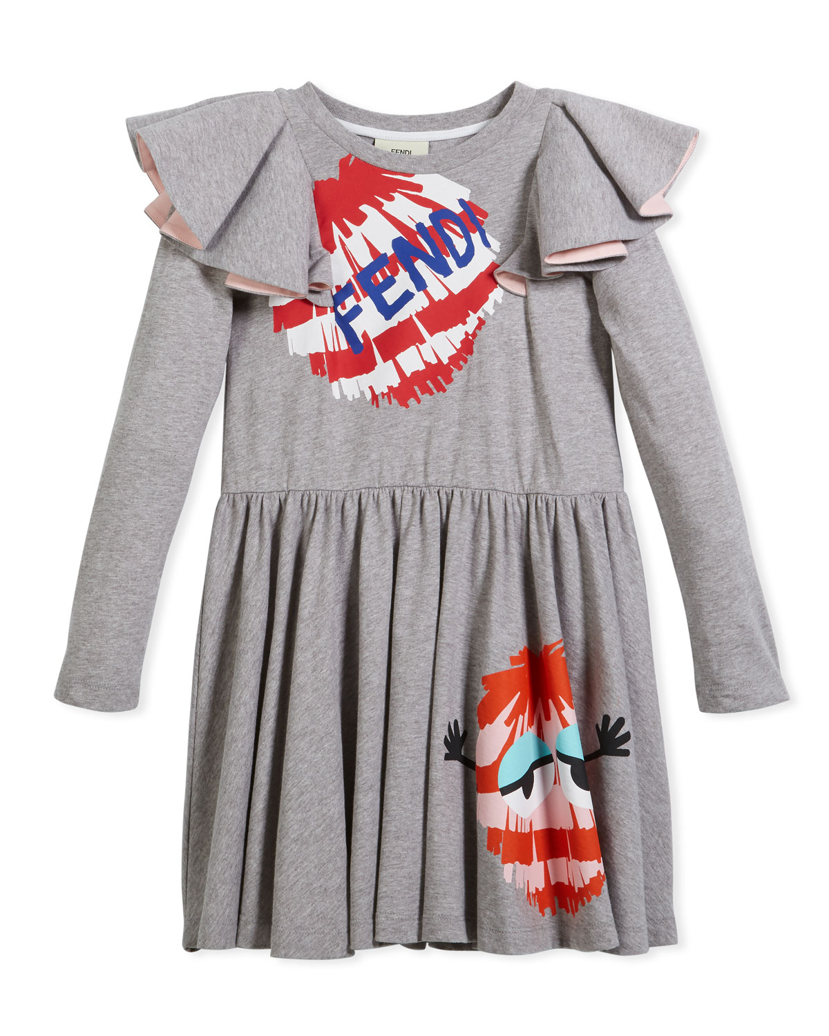 Long-Sleeve Ruffle Jersey Dress w/ Monster Pompom Graphic, Size 10-14