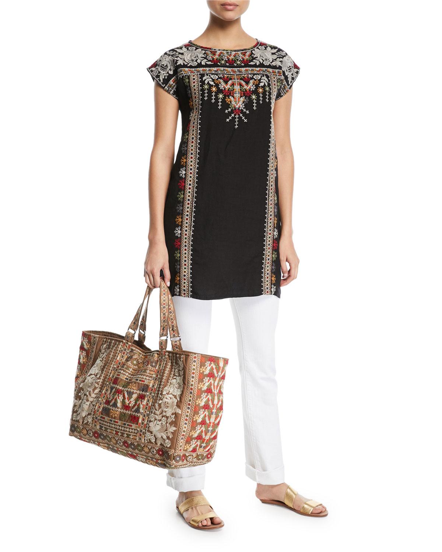 Allya Embroidered Linen Tunic Dress