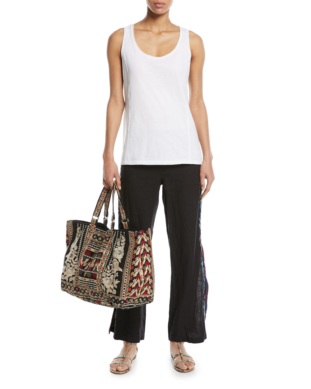 Izamal Embroidered-Side Linen Pants