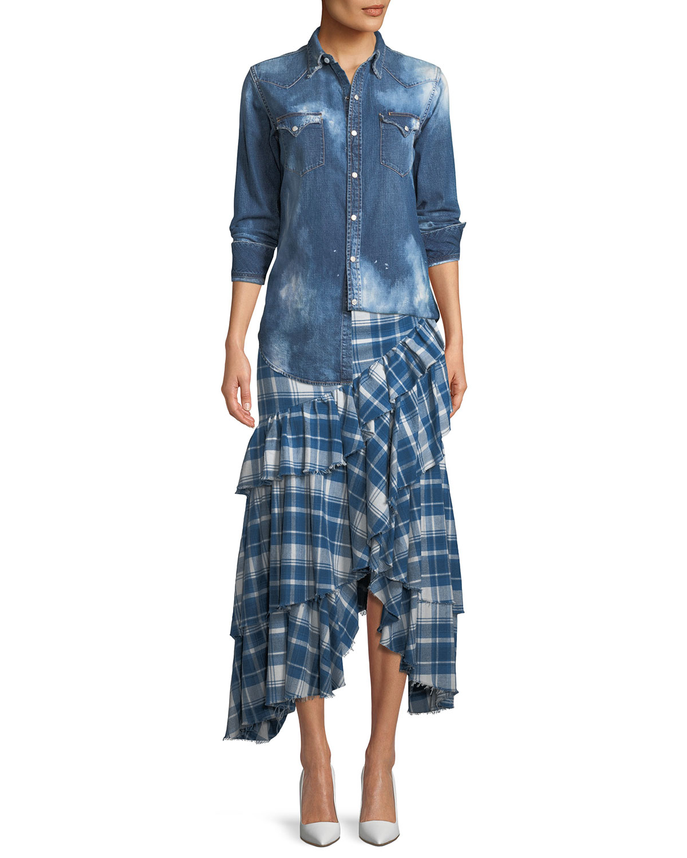 Phadra Plaid Blanket Ruffled Tier Cotton Skirt