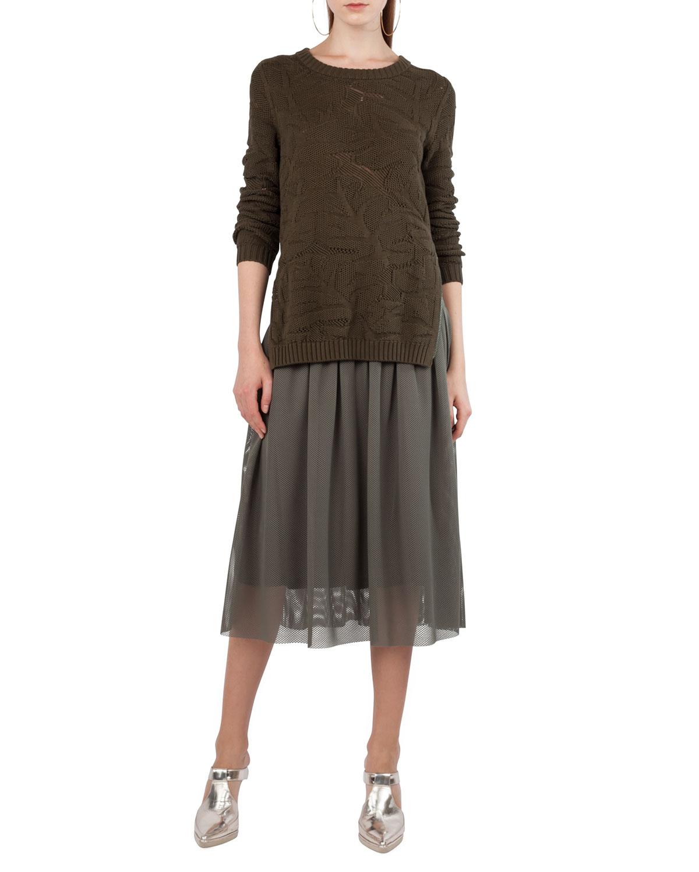 Mesh Lace A-Line Midi Skirt