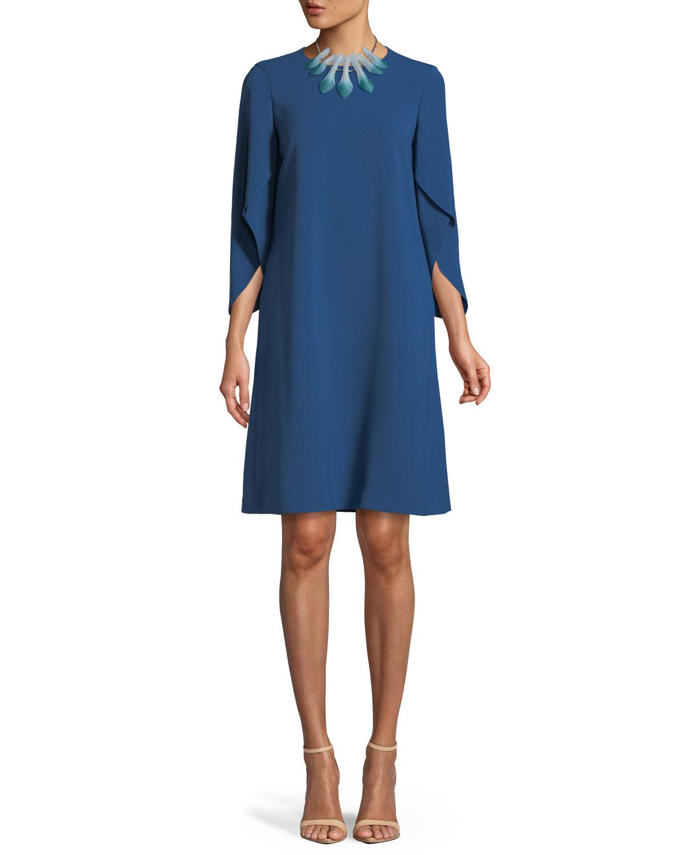 Finese Crepe Zahara Draped-Sleeve Dress