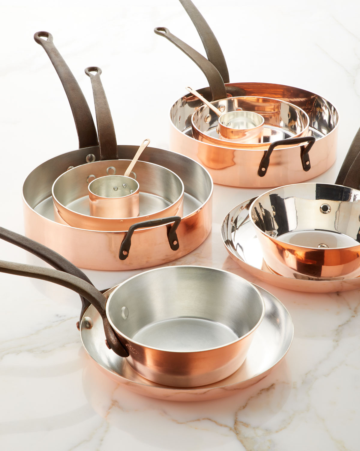 Solid Copper Tin-Lined Pans, Set of 5