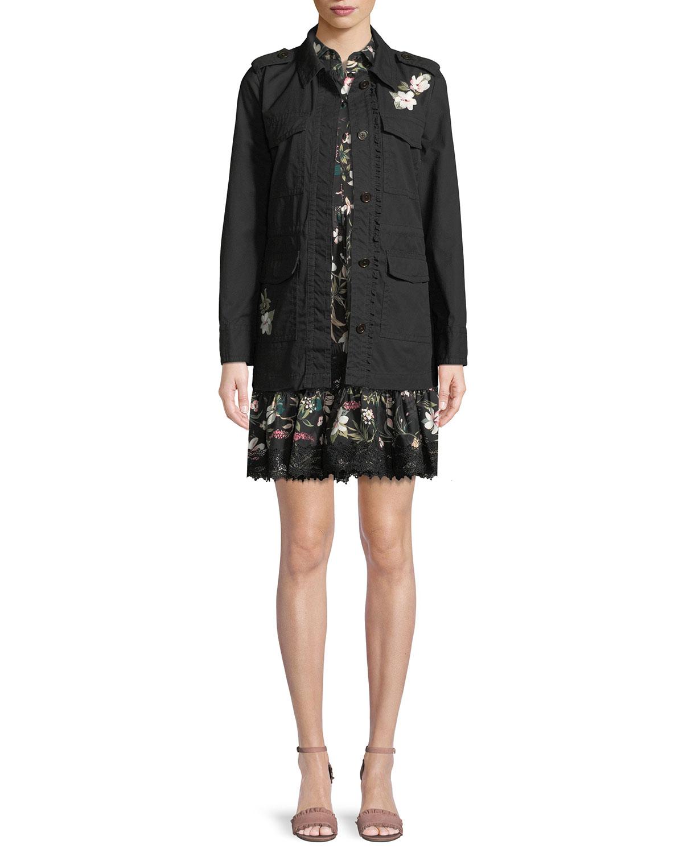 floral four-pocket army jacket