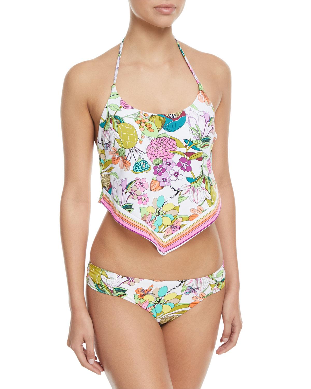 Key West Botanical-Print Shirred-Side Hipster Swim Bikini Bottoms