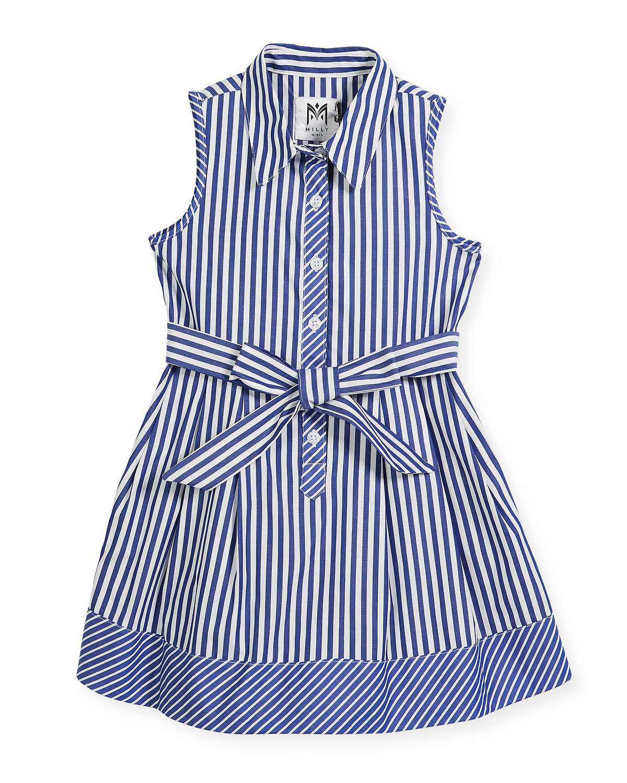 Sleeveless Striped Shirt Dress, Size 8-16