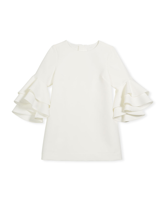 Nicola Cady Shift Dress w/ Ruffle Bell Sleeves, Size 4-7