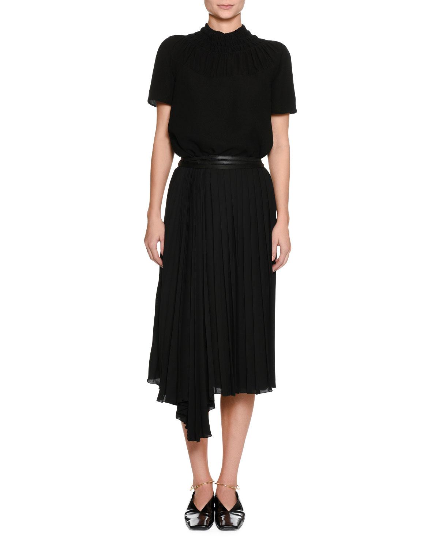 Enjeu Below-Knee Pleated Skirt with Leather Wrap Belt