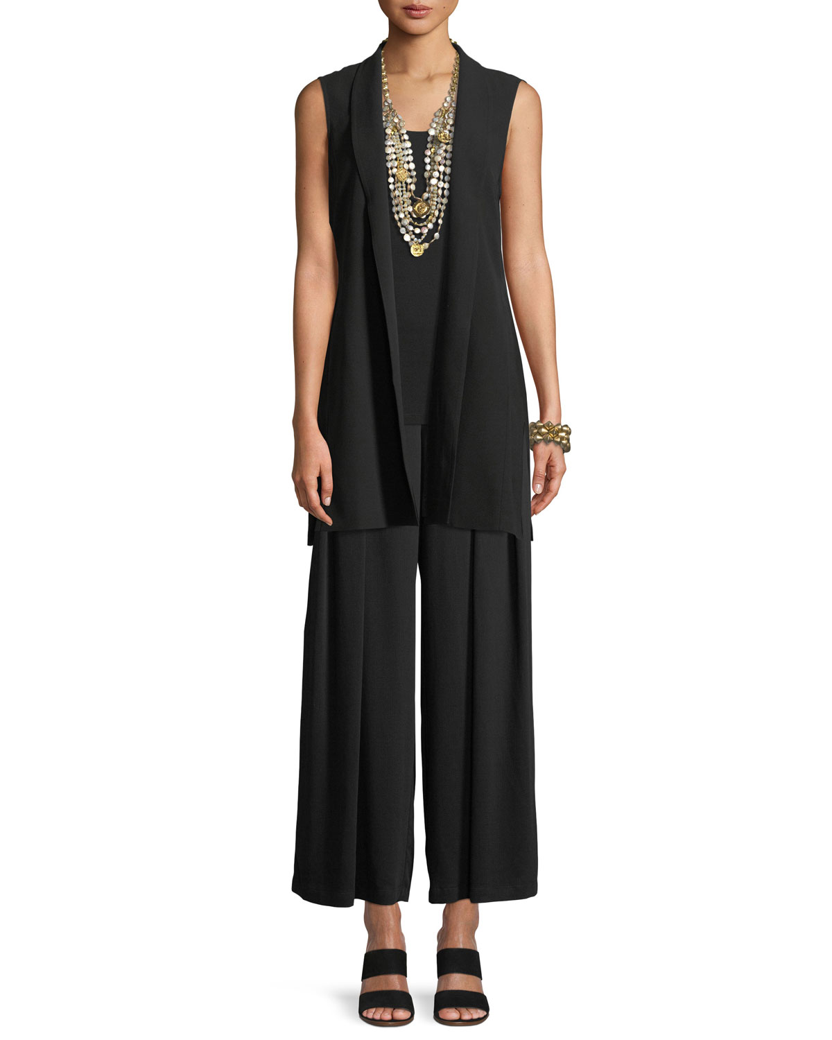 High-Collar Belted Long Silk Vest