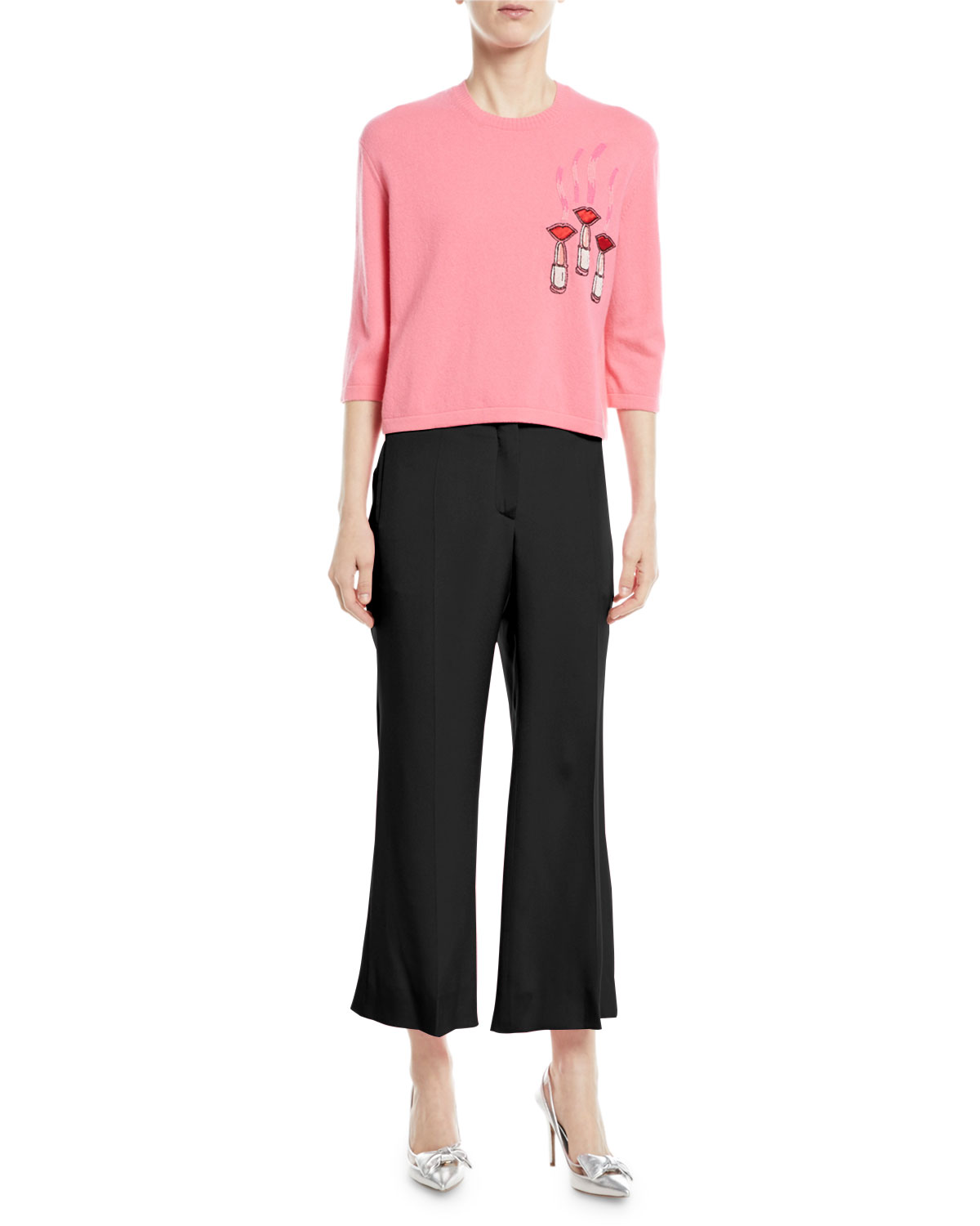 Crewneck Elbow-Sleeve Wool-Cashmere Sweater w/ Lipstick-Embroidery