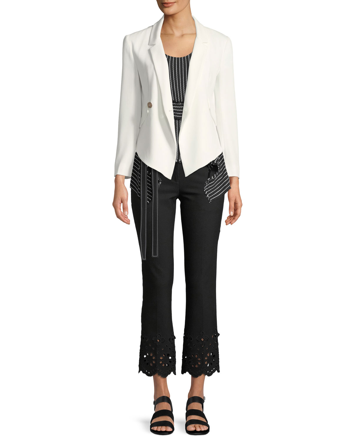 Cropped Flare Stretch-Cotton Trouser with Eyelet Embroidery