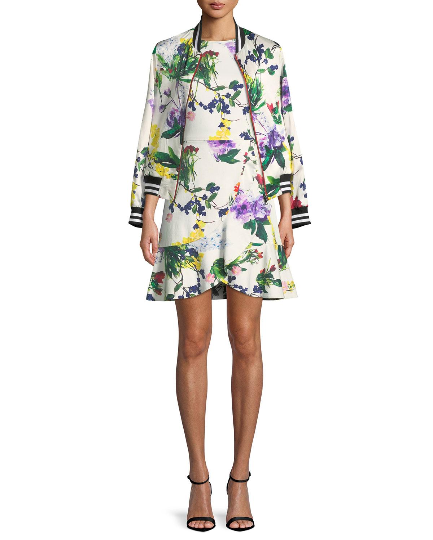 Kirby Jewel-Neck Cap-Sleeve Floral-Print Dress