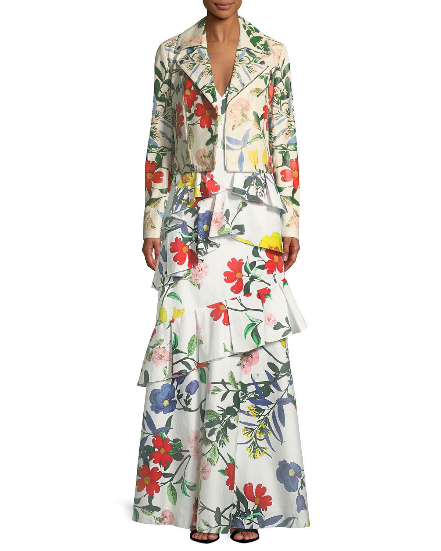 Alice + Olivia Arabella Mock-Neck Floral-Embroidered Evening Gown ...