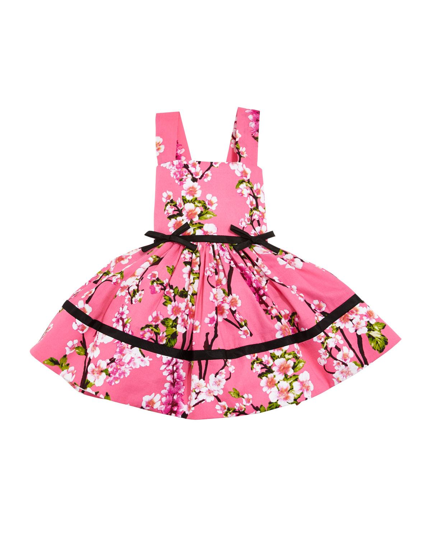 Cherry Blossoms Crewneck Dress, Pink, Size 2-6