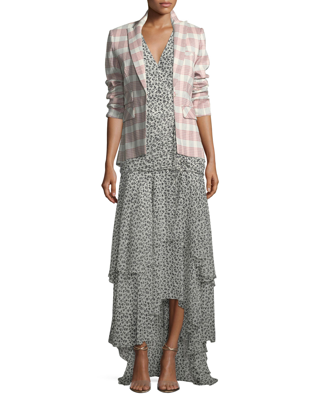 Samara V-Neck Floral-Print Tiered Chiffon Maxi Dress