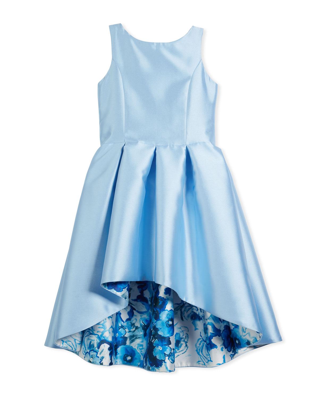Matte Sateen Floral High-Low Dress, Size 7-16