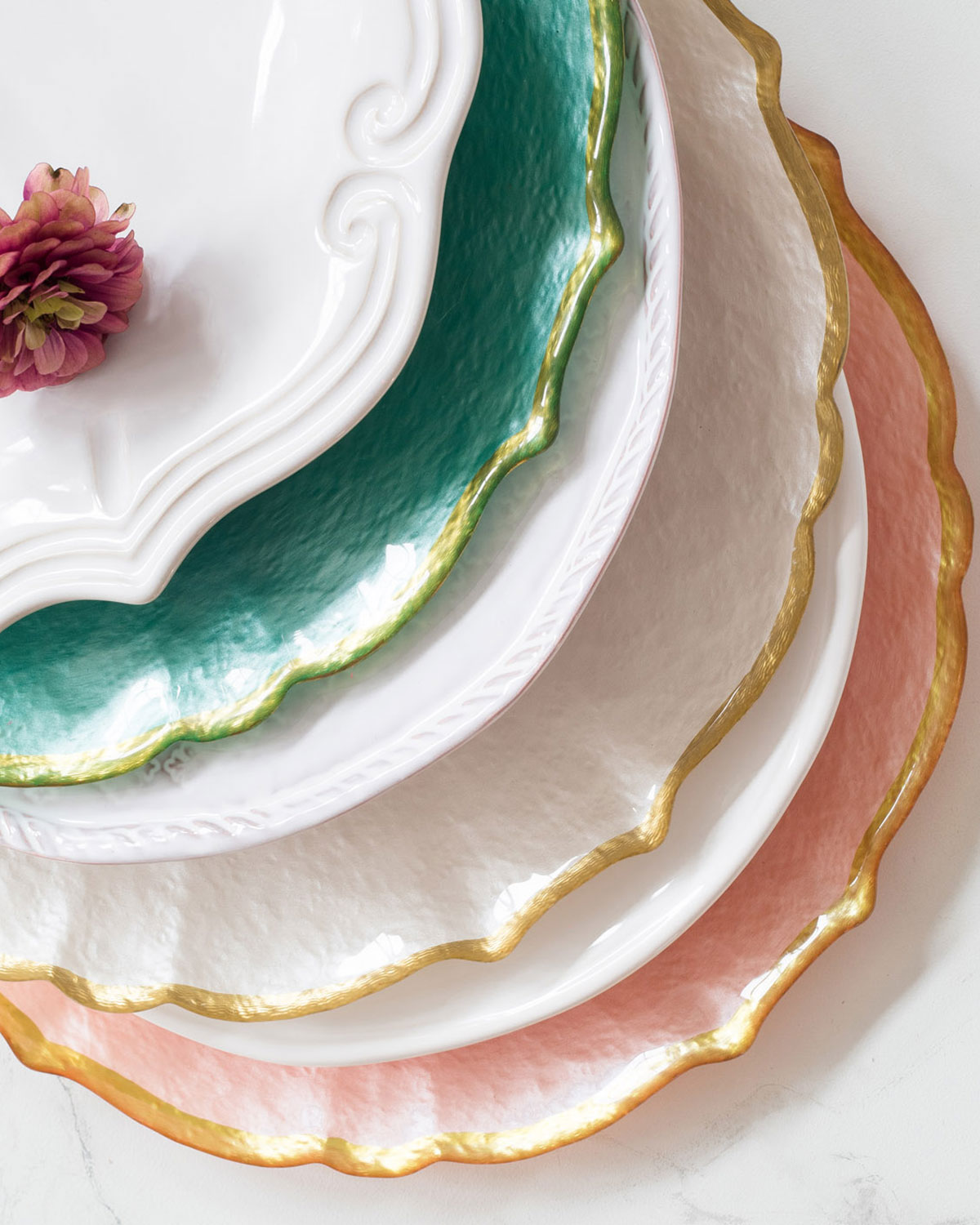 Pastel Glass Service Plate/Charger, White