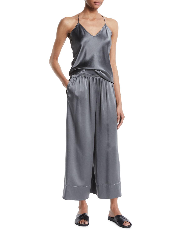 Smocked Silk Pull-On Culotte Pants