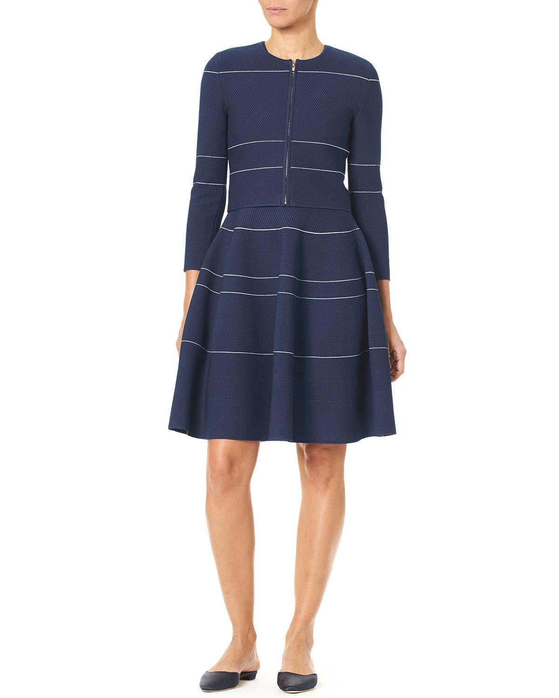 Zip-Front Mini-Stripe Knit Cardigan