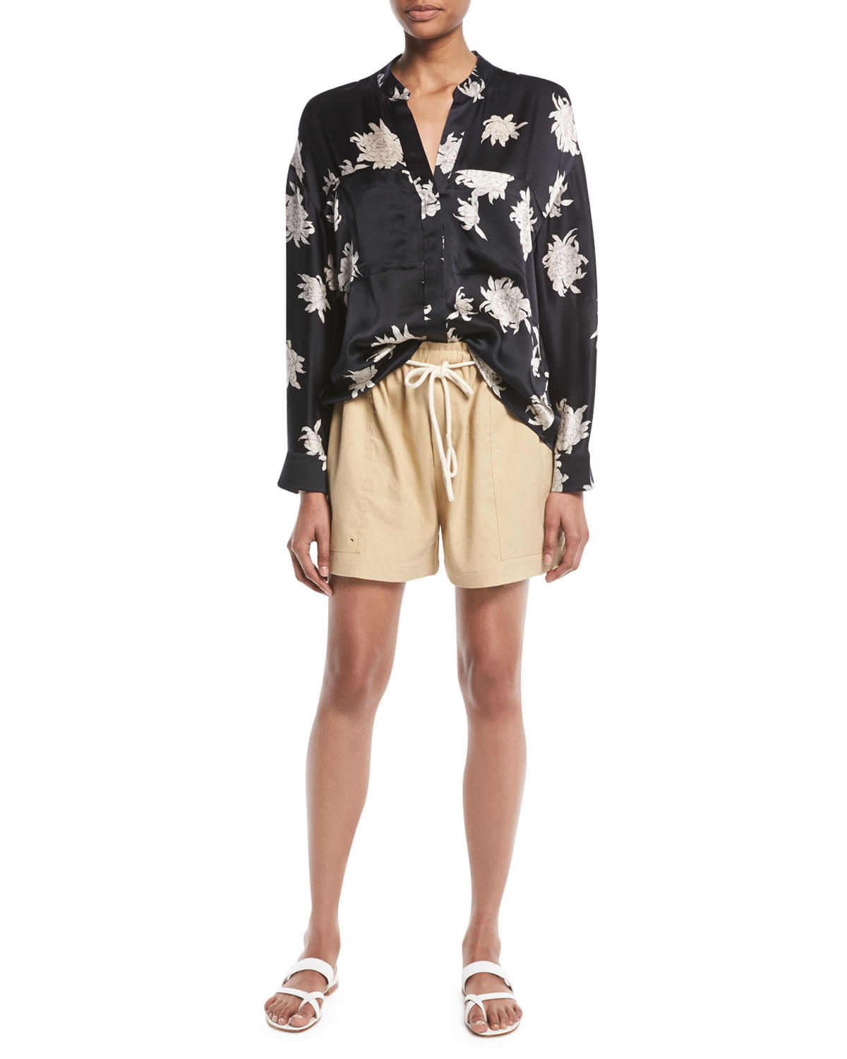 Silk Chrysanthemum Floral Long-Sleeve Pocket Blouse Vince Visit Sale Online Buy Cheap For Nice Discount New Arrival Sale Collections Discount Authentic lRwO45