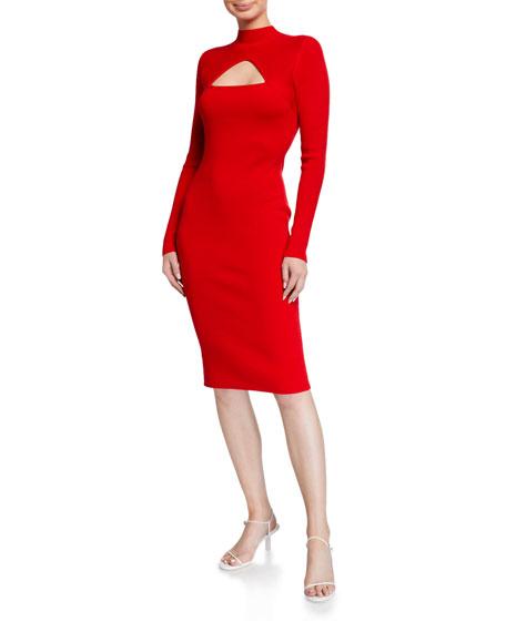 Victor Glemaud Long-Sleeve Cutout Sheath Dress