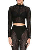 Adam Selman Sport Rose Mesh Long-Sleeve Quarter-Zip Crop