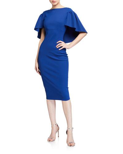 High-Neck Short-Sleeve Cape Dress