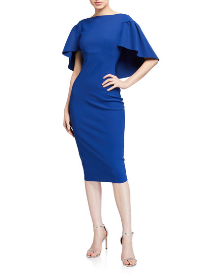 Chiara Boni La Petite Robe High-Neck Short-Sleeve Cape Dress