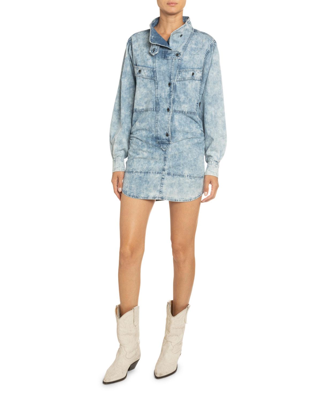 Etoile Isabel Marant Dresses INOROA ACID-WASHED DENIM SHIRTDRESS