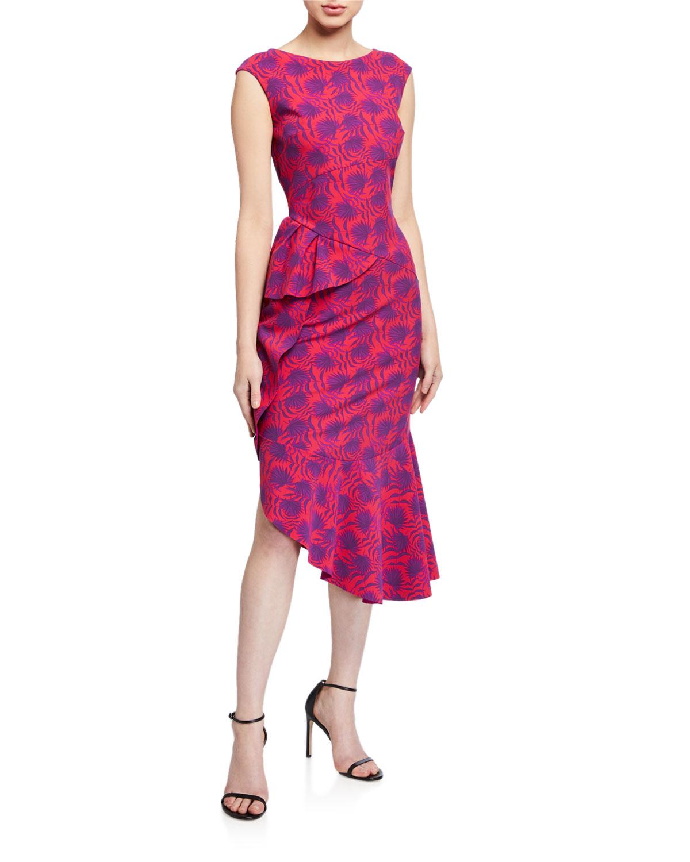 Chiara Boni La Petite Robe Dresses PRINTED HIGH-NECK SLEEVELESS ASYMMETRIC FLOUNCE DRESS