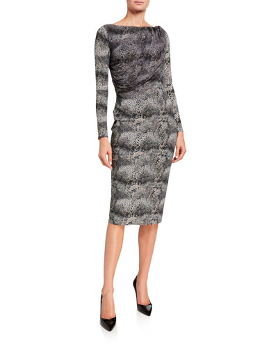 Snake-Print Long-Sleeve Dress with Sheer Bodice Overlay