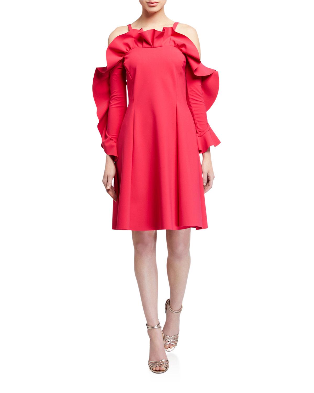 Chiara Boni La Petite Robe Dresses RUFFLE-NECK COLD-SHOULDER A-LINE DRESS