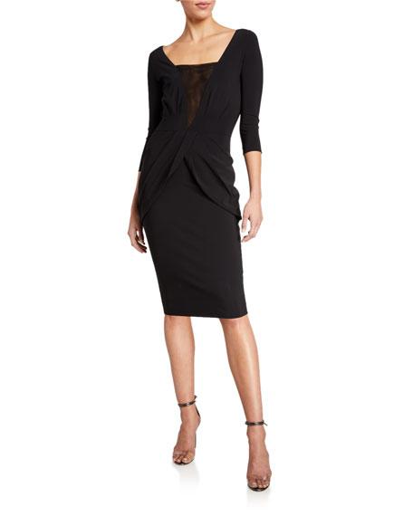 Chiara Boni La Petite Robe Long-Sleeve V-Neck Dress w/ Inset Illusion