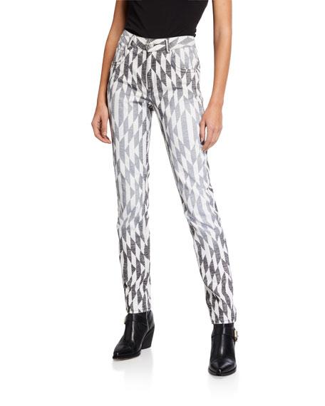 Etoile Isabel Marant Paro Geo-Print High-Rise Skinny Pants