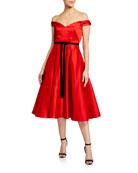 Marchesa Notte Off-the-Shoulder Satin Midi Dress