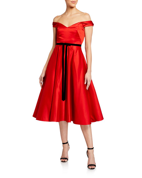 Marchesa Notte Off-the-Shoulder Satin Midi Dress