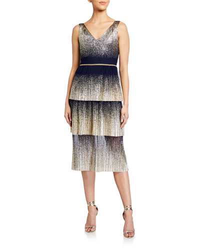 V-Neck Pleated Foil Degrade Tiered Cocktail Dress