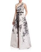 Marchesa Notte One-Shoulder Printed Metallic Jacquard Gown