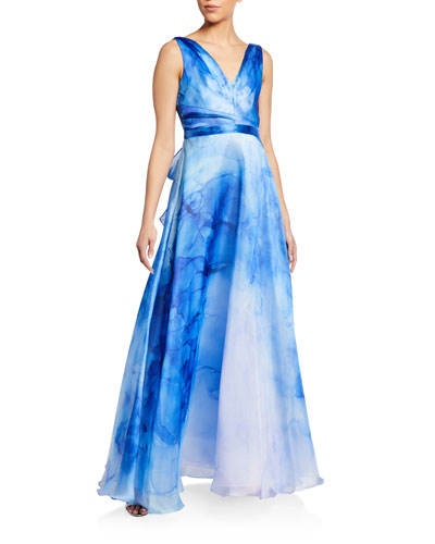 Watercolor Printed Organza Gown with Draped Bodice