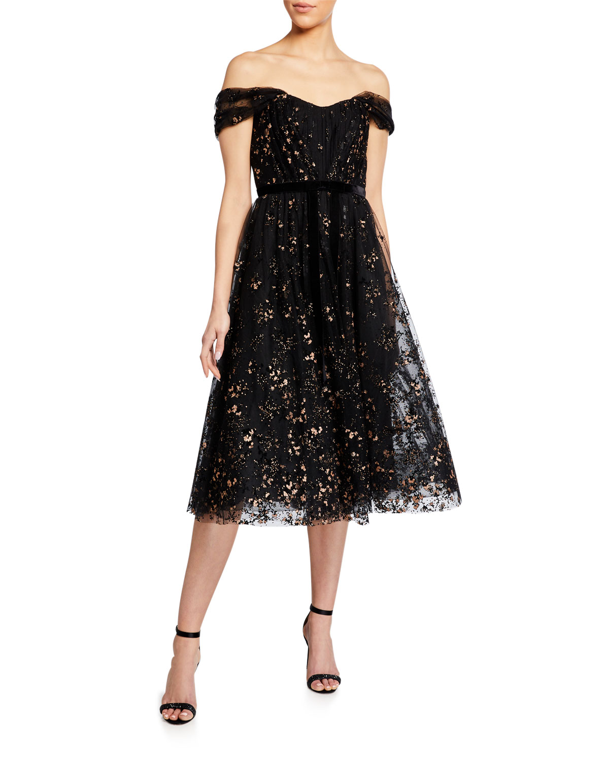 Marchesa Notte OFF-THE-SHOULDER FLOCKED GLITTER TULLE MIDI DRESS