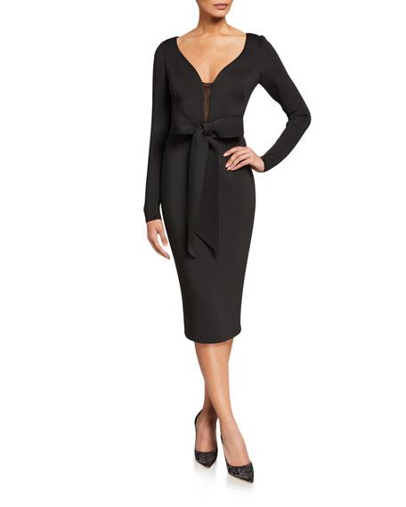 Badgley Mischka Collection V-Neck Long-Sleeve Scuba Dress with Bow